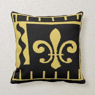 Coussin fleur De Lis de la Nouvelle-Orléans, noir et or