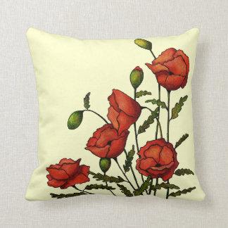 Coussin Fleurs rouges de pavot : Illustrations originales