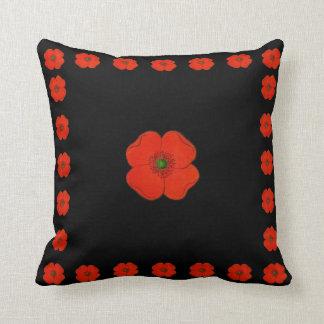 Coussin Fleurs rouges de pavot - pavots