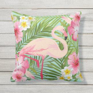 Coussin Fleurs tropicales avec le flamant rose