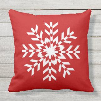Coussin Flocon de neige lumineux simple de Noël rouge et