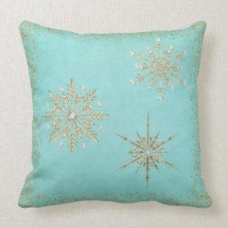 Coussin Flocons de neige Aqua de Noël et scintillement