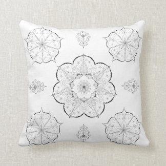 Coussin floral d'abrégé sur motif de yoga de b&w