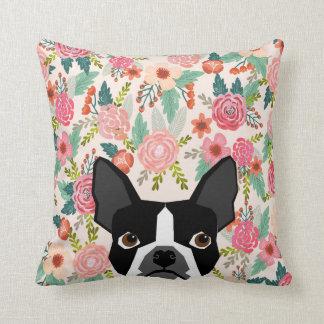 Coussin floral de Boston Terrier