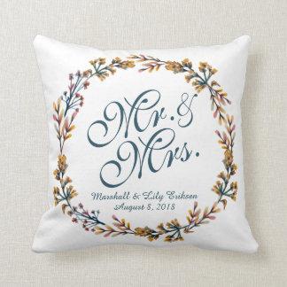 Coussin floral élégant personnalisé de mariage