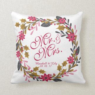 Coussin floral personnalisé de mariage de Noël