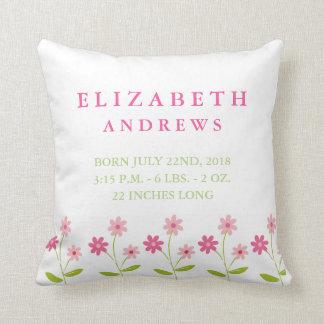 Coussin floral rose de faire-part de bébé de