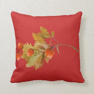 Coussin fonds rouge baies oranges d'automne