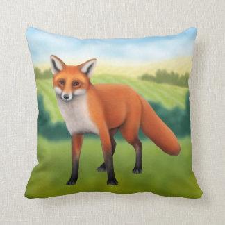 Coussin Fox rouge dans le carreau de champ