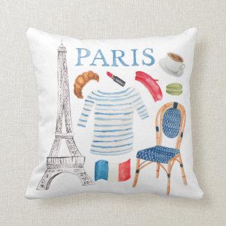 Coussin français de griffonnages d'aquarelle de
