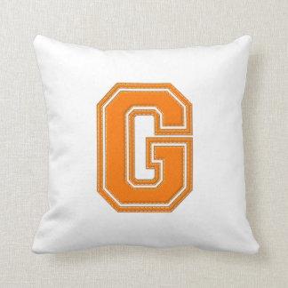 Coussin G de carreau de lettre, orange et blanc collégial