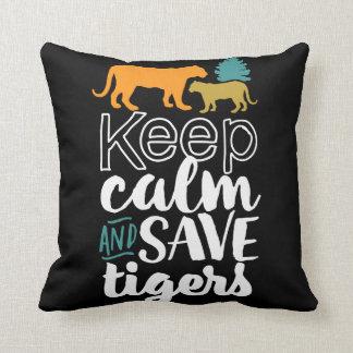 Coussin Gardez l'amoureux des animaux de faune de tigres