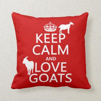 Coussin Gardez le calme et aimez les chèvres