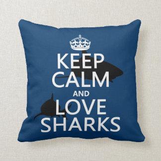 Coussin Gardez le calme et aimez les requins (les couleurs