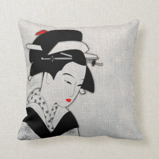 Coussin Geisha triste gris-clair