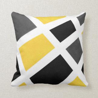 Coussin Géométrique blanc noir gris jaune