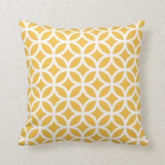 Coussin géométrique jaune solaire de motif