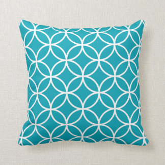 Coussin géométrique moderne dans le bleu d'Aqua