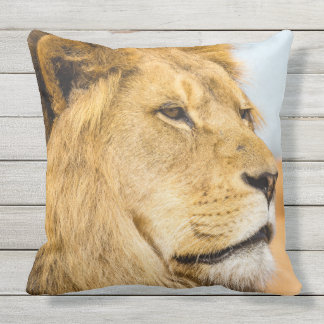 Coussin Grand lion regardant loin