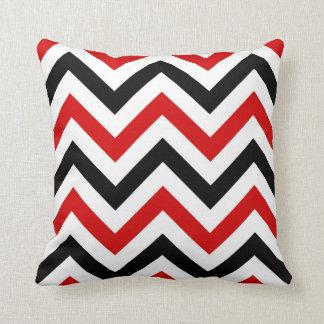 Coussin Grand motif de zigzag rouge, blanc, noir de
