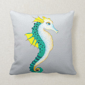 Coussin gris turquoise d'hippocampe