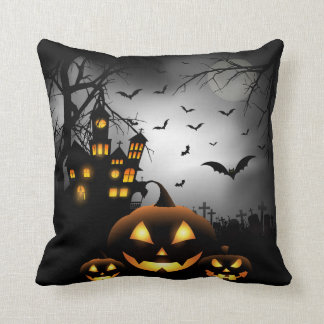 Coussin Halloween - lune grise de citrouilles éffrayants -