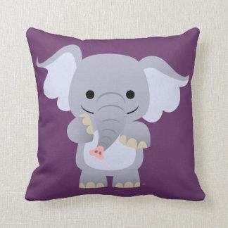 Coussin heureux d'éléphant de bande dessinée