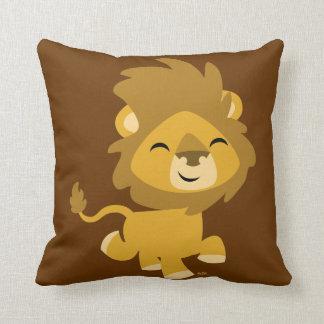 Coussin heureux mignon de lion de bande dessinée