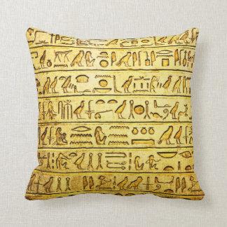 Coussin Hiéroglyphes égyptiens antiques - jaune