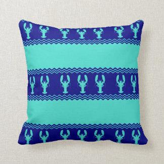 Coussin Homard côtier de motif de bleu marine de turquoise