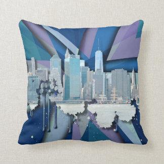 Coussin Horizon   3D bleu de New York City