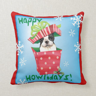 Coussin Howliday heureux Boston Terrier