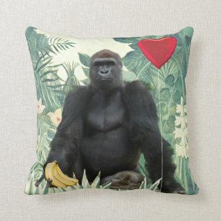 Coussin I carreau de gorilles de coeur