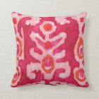 Coussin Ikat tribal rose et orange