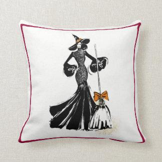 Coussin illustration de mode de Halloween avec la dentelle