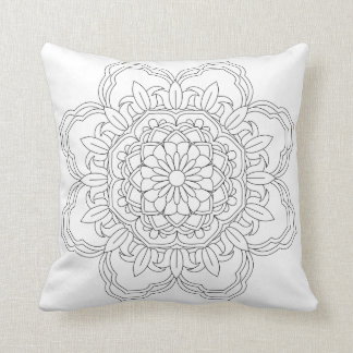 Coussin Illustration fleurie de mandala de vecteur pour