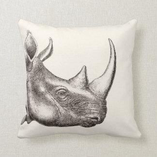 Coussin Illustration vintage de rhinocéros