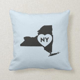 """Coussin J'aime le carreau 16"""" de l'état de New-York x 16"""""""