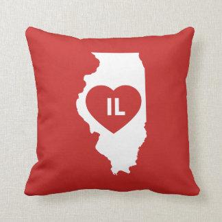 """Coussin J'aime le carreau 16"""" d'état de l'Illinois x 16"""""""
