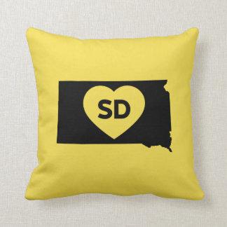 """Coussin J'aime le carreau 16"""" d'état du Dakota du Sud x"""