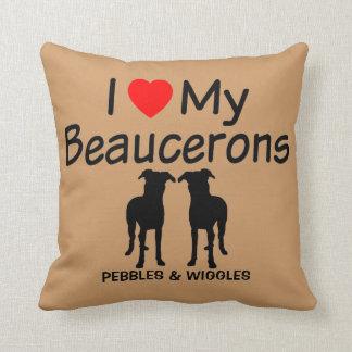 Coussin J'aime mes deux chiens de Beauceron