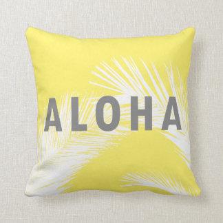 Coussin Jaune gris de palmiers de typographie de Hawaïen