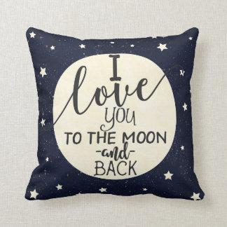 Coussin Je t'aime à la lune et au dos