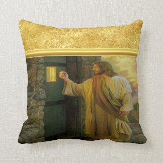 Coussin Jésus à votre porte avec une conception de feuille