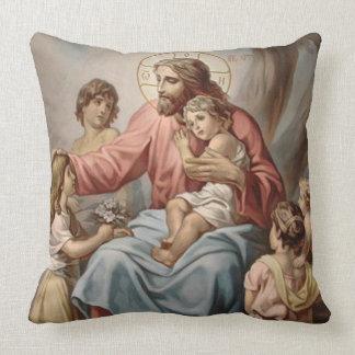 Coussin Jésus vintage avec des filles de garçons d'enfants