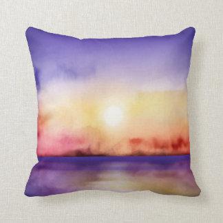 Coussin Joli coucher du soleil d'aquarelle toutes les