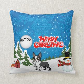Coussin Joyeux Noël Boston Terrier avec un bonhomme de