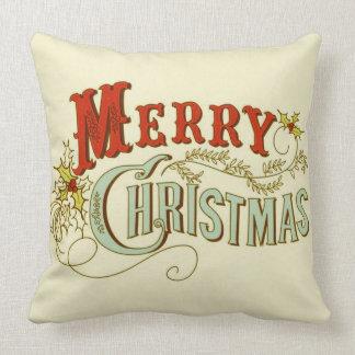 Coussin Joyeux Noël classique et traditionnel rustique