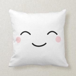 Coussin Kawaii de sourire blanc font face
