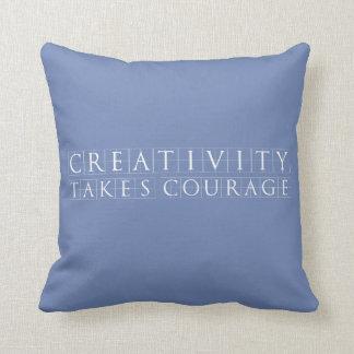 Coussin La créativité prend le courage Bleu-Gris